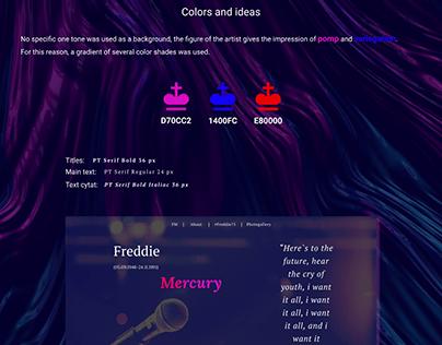 Landing page about Freddie Mercury