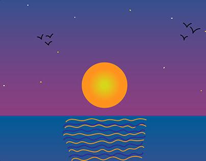 Sun Setting in the Ocean