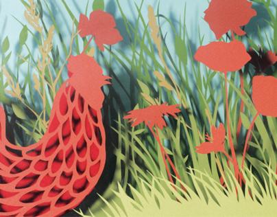 A kakas és a pipe - manual papercut tale illustration
