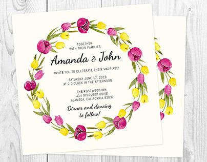 Romantic Watercolor Floral Invitations