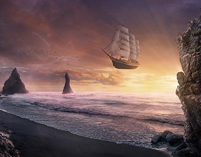 Flying sailing ship