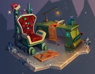 Workplace of Santa Claus from Futurama