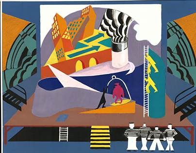 "Stage design for ""Сrimson Island"" Mikhail Bulgakov"