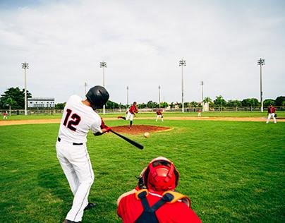Rear Viewpoint of Hispanic Baseball Player
