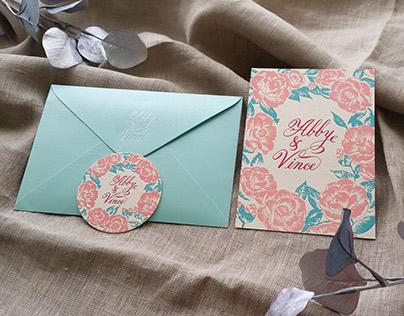 Abby & Vince 凸版印刷喜帖設計 Letterpress wedding card design.