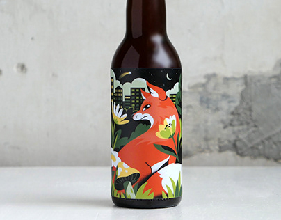 Illustrated beer label for Drip for Drip
