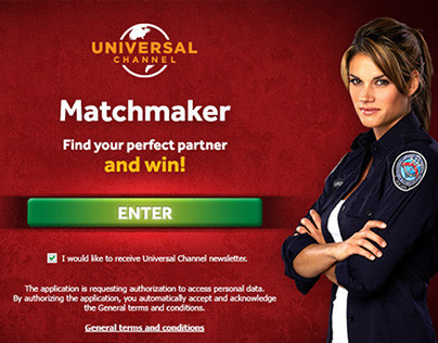 "Universal Channel (UK) ""Matchmaker"" facebook app U.I"