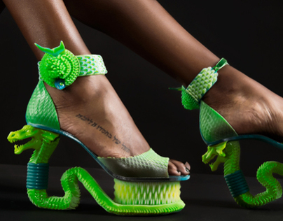 Extreme Serpent shoes 3D Printed on Stratasys Connex3