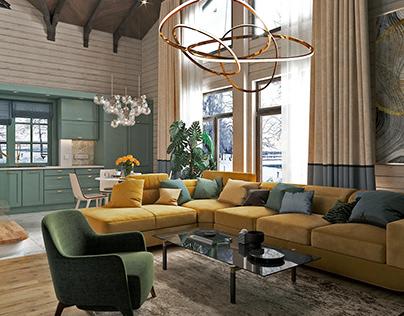 Дизайн-проект гостиной в загородном доме