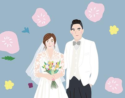 |婚禮邀請卡插畫/設計|illustration for wedding invitation