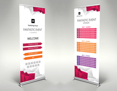Roll up banner template for Illustrator - themzy.com on Behance
