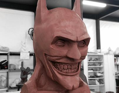 JOKERMAN. The Joker in Batman's suit. clay sculpture.