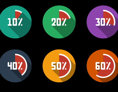 Flat design Icons set, in percentage with long shadow!