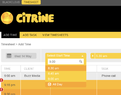 CITRINE Timesheet Feature 'All Day' | BlackCloud