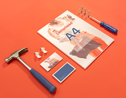 Free PSD Hand Tools Mockup A4 And Business Card