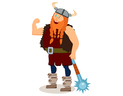Set of cartoon viking characters. Flat style.