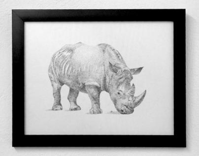 Rinoceronte Ilustración Puntillismo
