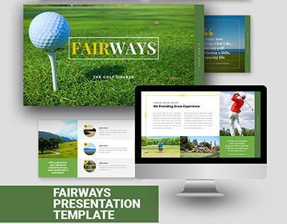 4 in 1 Colors Fairways Golf Course Powerpoint Template