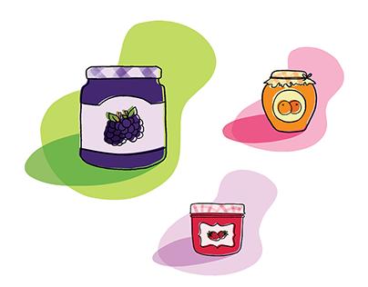 Vector illustration - Small jars of jam