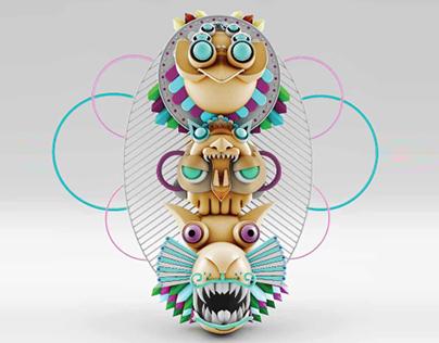 Máscaras Precolombinas - anaglifos-