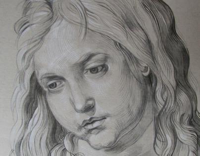 Young Jesus, reproduction after Dürer, aquarell
