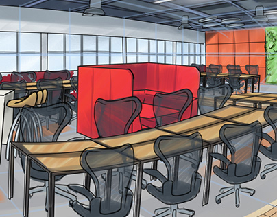 Perspective Illustration Office renew