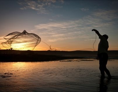 Sundown Cast Net Jeffrey's Bay by DHPhotographrsa