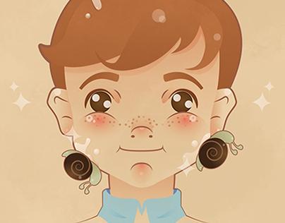 Baba de Caracol Para Niños; cartel+illustration