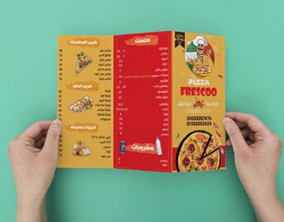 تصميم منيو لمطعم بيتزا