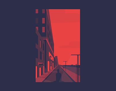 Moody city illustration