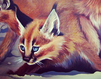 CARACAL KITTENS | Oil Painting