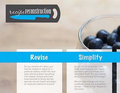 Recipe Reconstruction: landing page options