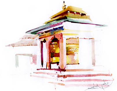 Leh ladakh watercolor