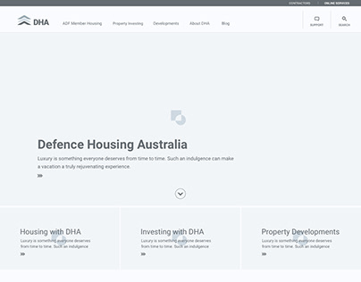 DHA Site Desktop Wireframes