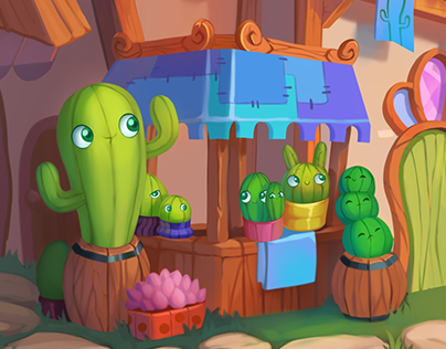Fantastic house of cactuses