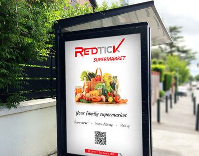 Opening | City Poster of «RedTick» Supermarket