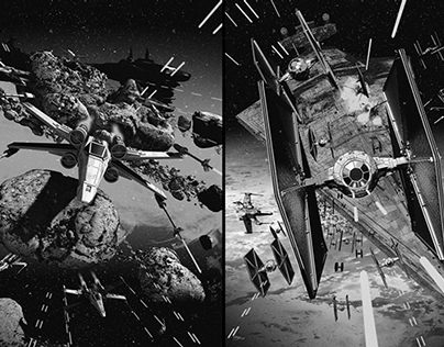 X-Wing Vs. TIE-Fighter screen prints.