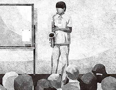 瀬尾まいこ「その扉をたたく音」(集英社『小説すばる』扉絵、挿絵