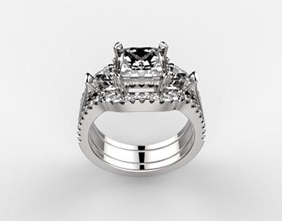 Princess and Triangle Cut Diamonds Ring