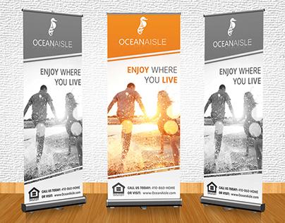Banner stand design for Ocean Aisle