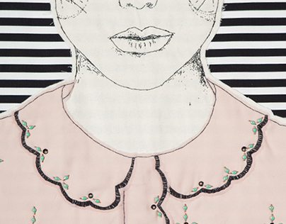 Embroidered Illustration - silk blouse