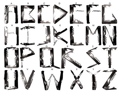 Found Object Font - Swiss Army Knife