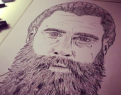 Ricki Hall Portrait -Drawn and Inked