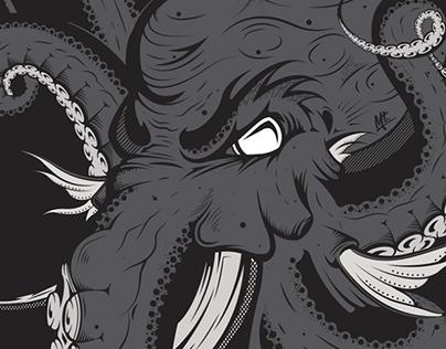888 - Octopus Elephant Illustration