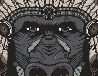 Gorilla Chief - Pen Tool Vector Illustration
