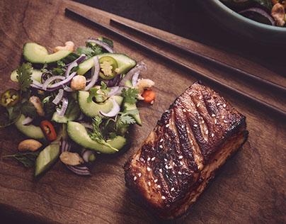 Pork ribs with asian salad