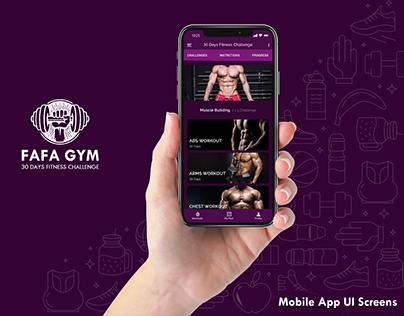 FAFA GYM 30 Days Fitness Challenge | Mobile App UI Kit