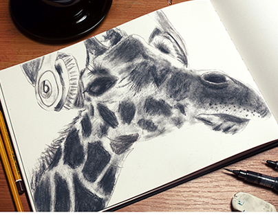Giraffe with Headphones