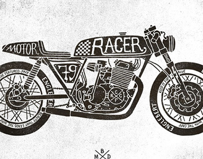 Image by Shutterstock Cafe Racer Classic Motorcycle Tee Men/'s