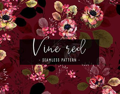 Vine red seamless watercolour pattern